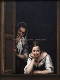 two women at a window by bartolome esteban murillo