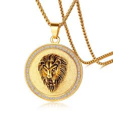 influx male stainless steel zircon lion head pendant european and american golden lion pendant necklace mkpc45666