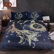 3 pieces gold moon sun duvet cover with pillowcase black dark blue bedding set king size quilt silk