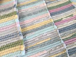 soft cotton chindi fringed rag rug in pastel multi colours