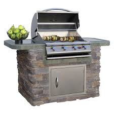 cultured stone and tile grill island with 4 burner gas