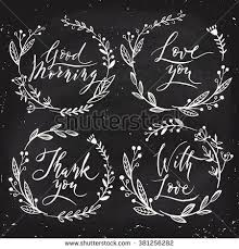 Modern calligraphy with floral frames. Blackboard designs.