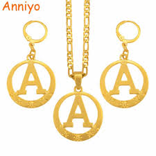anniyo a to z alphabet pendant necklaces for women gold color initial chains round english letter jewelry gifts 105106 length 45cm by 3mm chain metal color