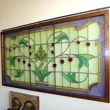 framed stained glass window panels a large frame panel with fl motifs antique