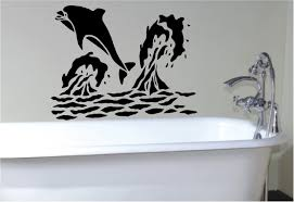 bathroom childrens bathroom wall decals design with vinyl black wall dolphin decor on the white on wall art stickers for bathroom with wall stickers for bathroom my web value