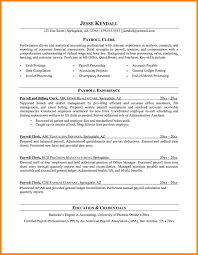 Payroll Clerk Job Description Resume Template Sample Pictures Hd