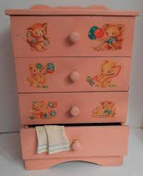 pink baby furniture. vtg 1950s pink baby doll dresser w nursery decals dy dee tiny tears betsy wetsy furniture n