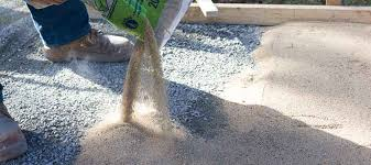 pouring base sand for pavers