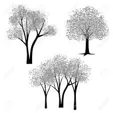 手描き黒灰色ベクトルの木クリップアート
