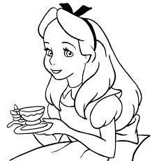 Disegno Di Alice Con La Tazza Di Tè Da Colorare