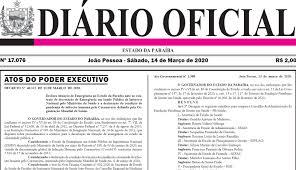 Decreto de emergência pelo coronavírus na Paraíba é publicado no Diário  Oficial - WSCOM