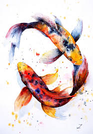 koi painting harmony by zaira dzhaubaeva