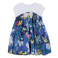 B2552 Catimini Vibrant Floral Fantasy Dress In Two Materials