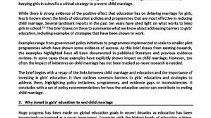 education girls not brides addressing child marriage through education what the evidence shows