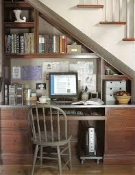 under the stairs office look - would a darker finish like the one pictured  look better
