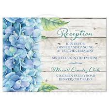 wedding reception card blue hydrangea wedding reception card blue green floral watercolor