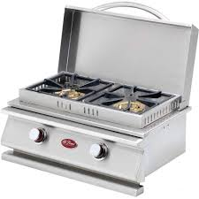 cal flame deluxe stainless steel built in dual fuel gas double side burner