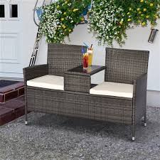 outsunny double chair wicker outdoor