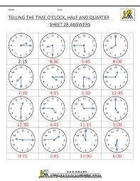 Quarter Hour Time Conversion Chart Time Worksheet Oclock Quarter And Half Past