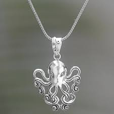 sterling silver pendant necklace of an octopus octopus of the deep
