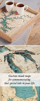 Lake Art Custom Made Serving Tray Wooden Map