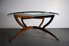 Teak And Glass Coffee Table Free Shipping In Usa Mid Century Modern Teak Spider Base Glass Top