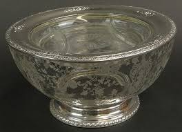 wallace sterling silver and cambridge rosepoint bowl together with divided dish with silver plate rim