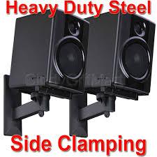 4x speaker wall mount bracket side clamp large bookshelf surround sound tilt c7n 791090678209