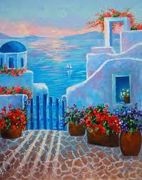art oil painting greece sunset scenic landscape by rbealart