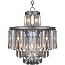 art deco 11 light crystal chandelier