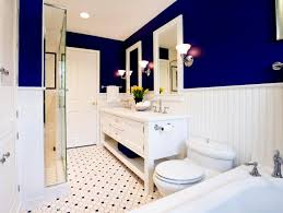 master bath comes alive with marine blue walls