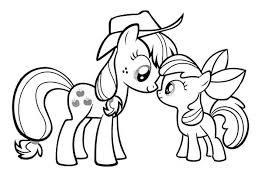 Small Picture My Little Pony Applejack and Apple Bloom Coloring Page Download