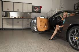 garage floor in sedona floor color with a gray