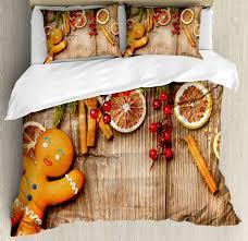 gingerbread man duvet cover set with pillow shams rustic theme print