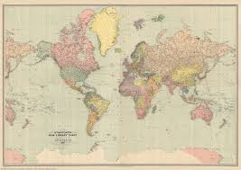 Mystanford Chart Stanfords New Library Chart Of The World 1920 A1 Wall Map Canvas