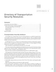 Appendix C - Directory Of Transportation Security Resources ...
