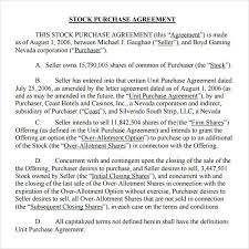 Purchase Agreement Samples Simple Stock Purchase Agreement Template 10 Stock Purchase Agreement