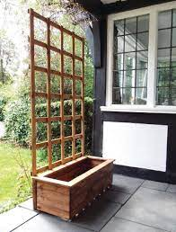 wooden trough planters large solid