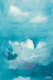 blue painting blue sky white clouds watercolor painting by beverly brown prints