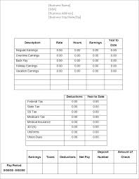 Free Paycheck Stub Templates Blank Weekly Word Excel Template