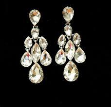 teardrop wedding earrings crystal bridal earrings art deco silver plated rhinestone chandelier earrings wedding jewelry