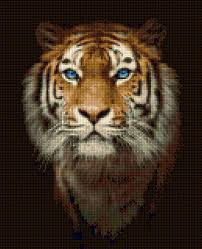 Tiger Color Chart Tiger Portrait Cross Stitch Pattern Pdf Easy Chart With One