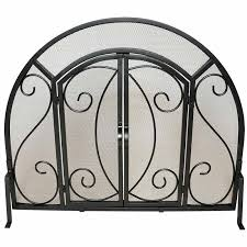 single panel ornate fireplace screen with doors black