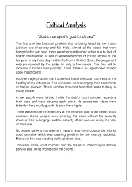 "district court report 16 critical analysis ""justice delayed"