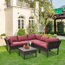 outdoor furniture wicker. Wonderful Wicker Outsunny 6pc Outdoor Rattan Sectional Patio Set And Furniture Wicker