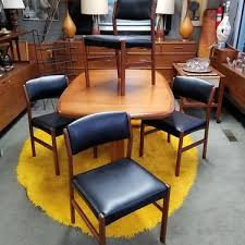 set of four danish modern teak dining chairs with new upholstery