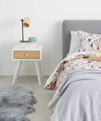 ln bedside table oak white