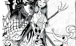 Nightmare Before Christmas Jack And Sally Coloring Pages The Night