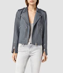 all saints klyn leather biker jacket blue