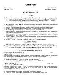 Sample Business Analyst Resume Free Resume Templates 2018